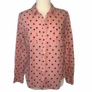 Merona Button front Blouse Pink Blue Dots LS Large